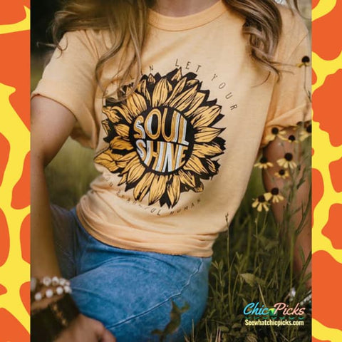 "Southern Bliss Company Yellow ""Sunflower Soul Shine"" Sunflower Short Sleeve Graphic Tee at Chic Picks"