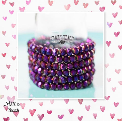 Crazy Train Clothing Unicorn Farts Sparkly Sangria Purple Pink Beaded Stretch Bracelet Mix and match Buy 2 Get 1 Free Beaded Stretch Bracelet Women's fashion jewelry bracelets at Chic Picks