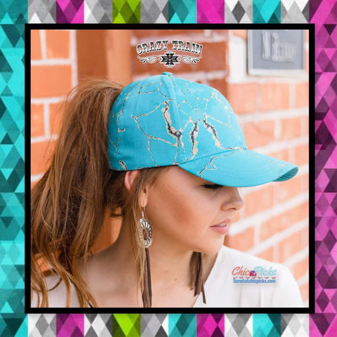 Crazy Train Clothing Adjustable High Pony Marble Blue Hat Lost Your Marbles Baseball Cap Women's fashion hats and accessories at Chic Picks boutique