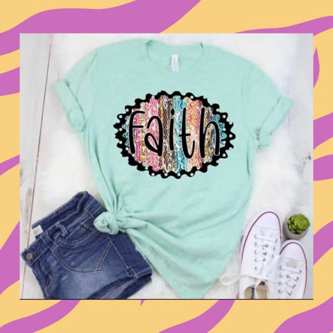 "Mint Bella Canvas Short Sleeve Graphic Tee ""Have A Little Faith""-Short Sleeve Graphic Tee-Chic Picks"