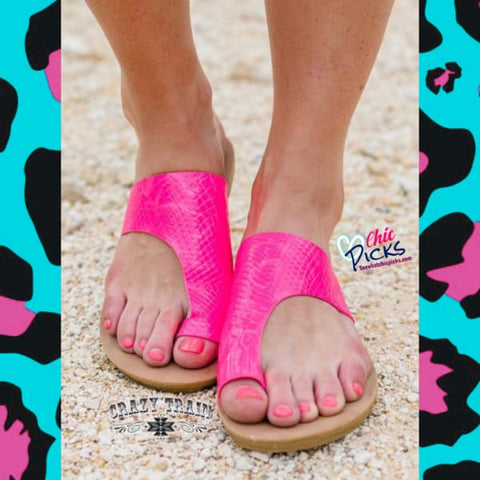 Crazy Trains Hot Pink Asymmetrical Summer Slide Sandals At Chic Picks