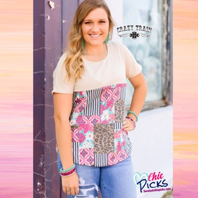 Crazy Train Empire Line Multi Pattern Mix Short Sleeve Top with Side Vents at Chic Picks