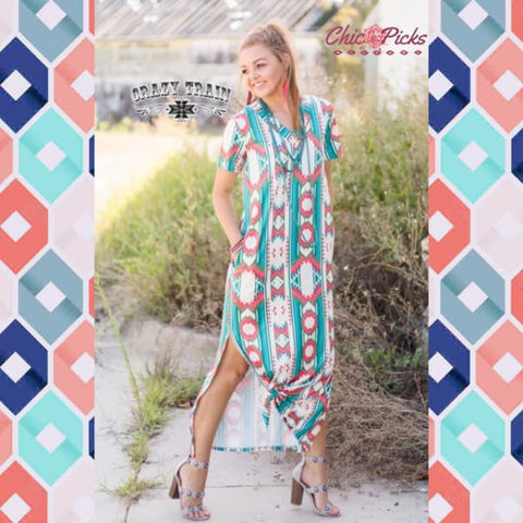 Crazy Trains Fun Aztec Print Maxed Out Maxi Full Length Maxi Dress with Side Splits Women's Fashion Maxi Dress At Chic Picks Boutique
