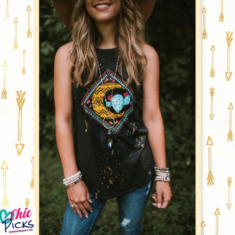 "Southern Bliss Company Boho Cactus Moon Bleached and Distressed Tank ""Cactus  Moon""-Bleached Graphic Tank at Chic Picks"