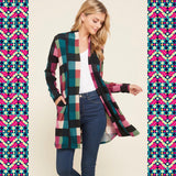 """Check Mate"" Colorful Checkered Cardigan"