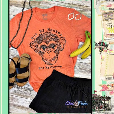 "Texas True Threads Orange Bella Canvas Tri Blend T-shirt Top-""Not My Monkey""-Short Sleeve Graphic Tee-Chic Picks"