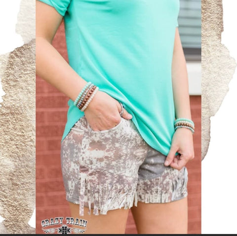 Crazy Train Howdy Hide Cowhide Animal Print Fringe Shorts-Chic Picks