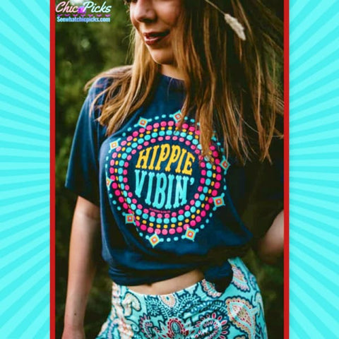 "Southern Bliss Company Navy Short Sleeve Graphic Tee ""Hippie Vibin Vixen""-Short Sleeve Graphic Tee-Chic Picks"