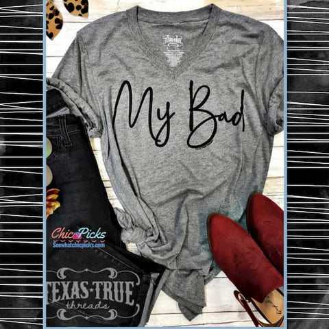 "Texas True Threads Grey Graphic  Tee-""My Bad""-Short Sleeve Grey Graphic T-shirt Top-Chic Picks"