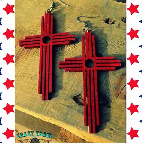 Crazy Train Clothing Red Handmade Large Wood Cross Earrings womens fashion jewelry Carrying Your Love at chic Picks Boutique