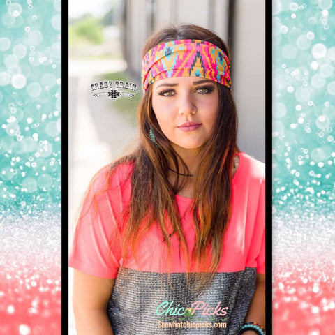 Crazy Train Wild Haggard Headband-Pretty Colorful Aztec Patterned Stretch Headband-Crazy Train-Chic Picks