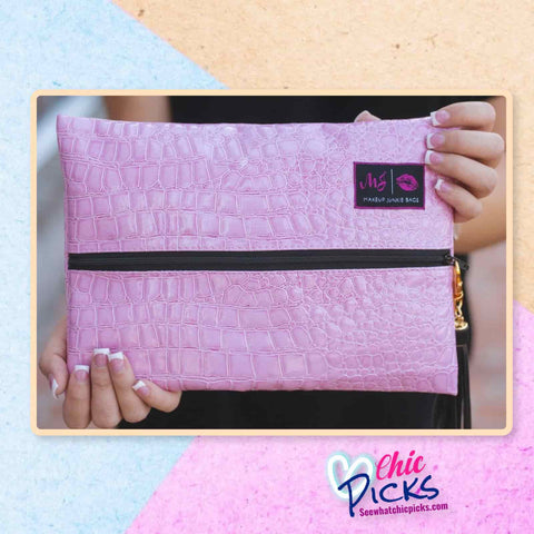 Blush Pink Vegan Croc Makeup Junkie Cosmetic Makeup Bag at Chic Picks