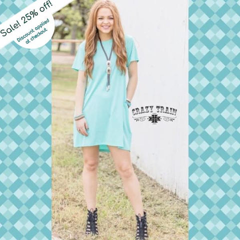 "Crazy Trains Turquoise Pocket Dress ""Turquoise Twist""-Dress-Chic Picks"
