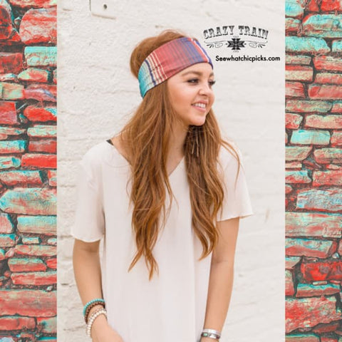 Crazy Trains Colorful Serape Pattern Wide Stretch Headband | Chic Picks