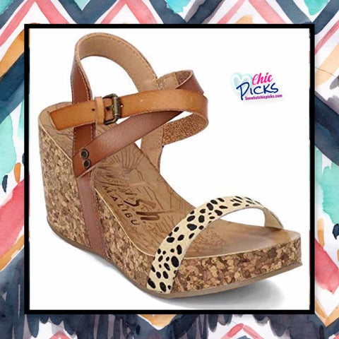Blowfish Malibu Cork Wedge Leopard Animal Print Cheetah Sandaks women's fashion Shoes at Chic Picks Boutique