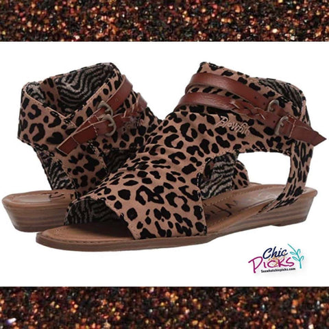Blowfish Malibu blue moon leopard animal print cut out side sandals  women's Spring summer fashion shoes at chic picks boutique