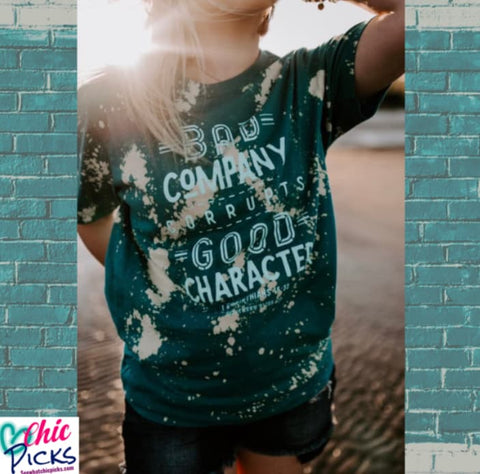"Southern Bliss Company Short Sleeve Bleached Distressed Short Sleeve Tee ""Bad Company"" at Chic Picks"