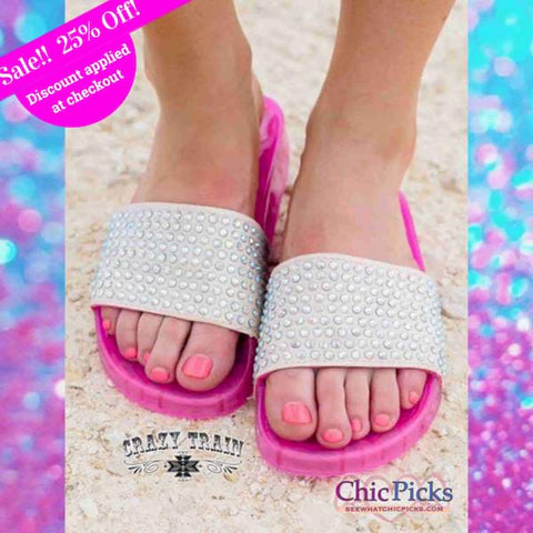"Crazy Trains Pink Rhinestone Jelly Slides ""Cinderelly Jelly"" Slide Sandals on Sale at Chic Picks"