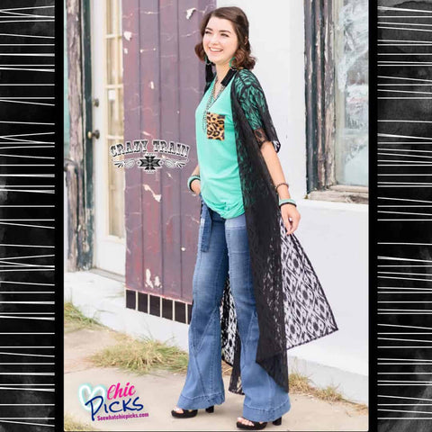 Crazy Train Clothing Black Lace Duster Women's Fashion Dusters and outerwear at Chic Picks Boutique