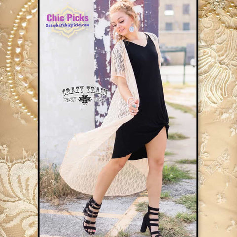 "Crazy Train ""Cream Albuquerque Duster Lace Cream Short Sleeve Duster At Chic Picks"