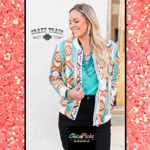 Aztec Pattern Bomber Jacket At Chic Picks