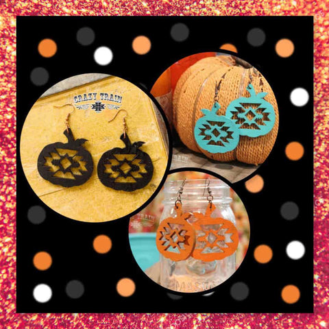 Crazy Train Aztec Carved Wood Pumpkin Earrings At Chic Picks
