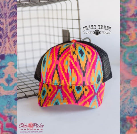 Crazy Train Aztec Print Hat Adjustable High Pony Cap Women's fashion Accessories At Chic Picks Boutique