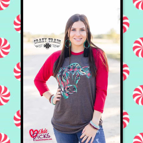 Crazy Train Holly Cow Red Sleeve Christmas Graphic Tee Women's christmas Apparel At chic picks Boutique