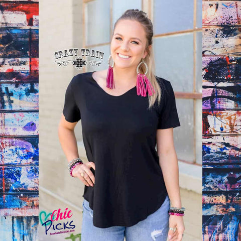 Crazy Train Black Butter Basic Tee with Raw Edge Detail Women's Fashion Basic Staples At Chic Picks Boutique