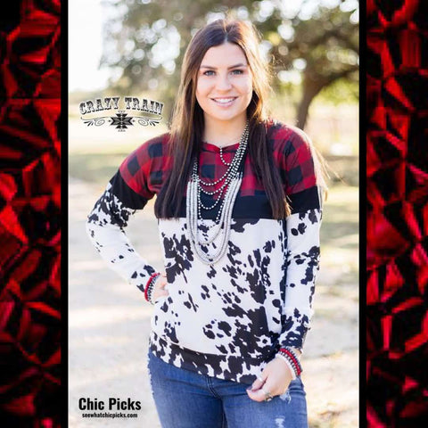 Crazy Train Cowboy Christmas Pullover Red Buffalo Plaid Cow Print Pullover Long Sleeve Top Women's Fashion Pullover Tops At Chic Picks