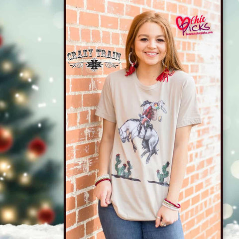 Crazy Train Cowboy Christmas Eve Short Sleeve Tee Women's winter holiday Christmas fashion at chic Picks Boutique