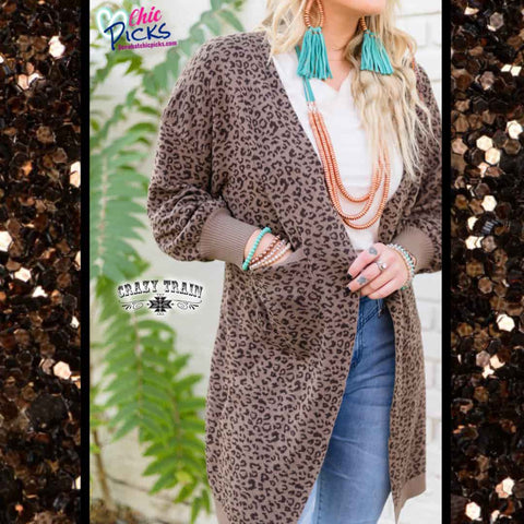 Crazy Train Leopard Cuddle Up Cardigan Balloon Sleeve Cardigan | Chic Picks