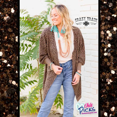 Crazy Train Leopard Cuddle Up Cardigan Balloon Sleeve Leopard Cardigan plus size women's winter fashion at chic Picks Boutique
