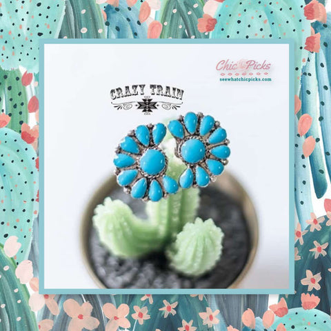 Crazy Train Clothing Blue Double Flower Slide Ring The Etta Ring women's fashion jewelry and accessories At Chic Picks boutique