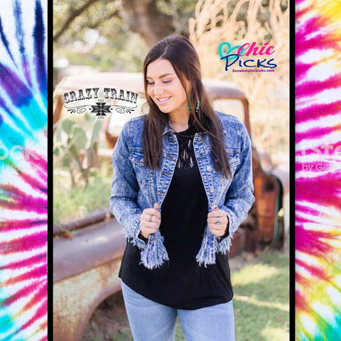 Crazy Train Cropped Denim Jean Jacket with Fringe Detail At Chic Picks