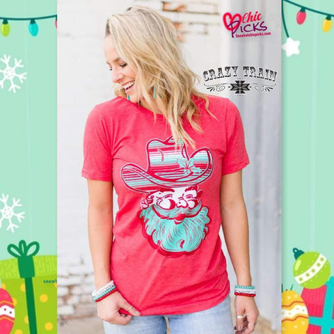 Crazy Train Holly Jolly Santa Serape Cowboy Hat Red Short Sleeve Graphic Tee Women's holiday Fashion T-shirts At Chic Picks Boutique