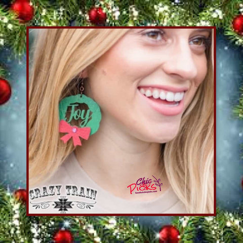Crazy Train Christmas Joy Holiday Wreath Dangle aeareings Women's fashion Christmas holiday jewelry at chic picks Boutique
