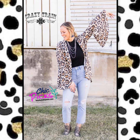 Crazy Train Clothing Cambridge Cardigan Leopard Sparkle Bell Sleeve Blazer Women's fashion apparel at Chic Picks boutique