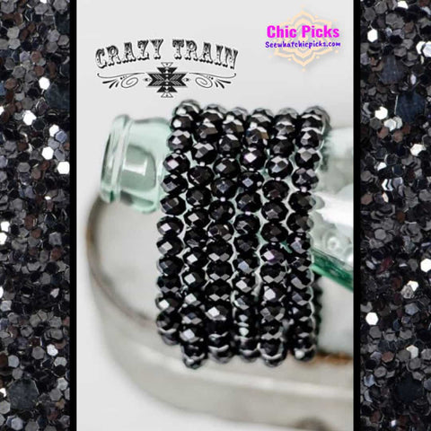 Crazy Train Midnight Black Beaded Stretch Bracelet At chic Picks