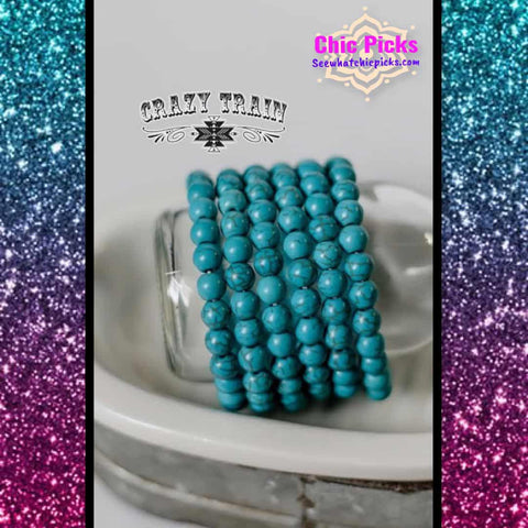Crazy Train Navajo Turquoise Beaded Stretch Bracelet At Chic Picks