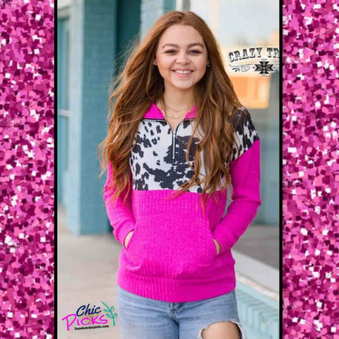 Crazy Train Punchy in Pink Hot pink fuschia and Cowhide Color Block half zip pullover with kangaroo pouch Women's fall winter fashion apparel at chic Picks Boutique