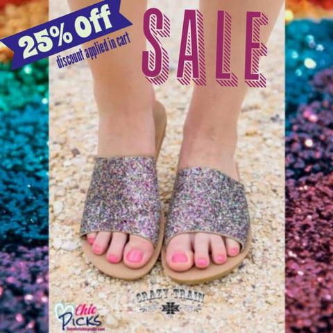 Crazy Train Showstopper Glitter Summer Slide Sandals On Sale At Chic Picks