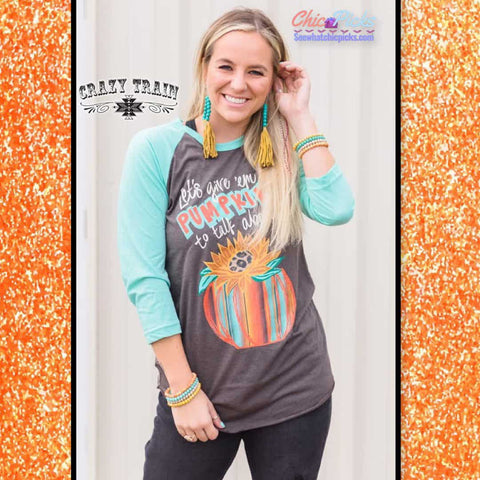 Crazy Train Fall Fashion Pumpkin Graphic Baseball Sleeve Tee T-shirt Top Women's Fall Winter Fashion Apparel Trends At Chic Picks Boutique