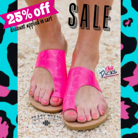Crazy Train Summer Lovin Pink Python Covered Toe Summer Slides On sale at Chic Picks