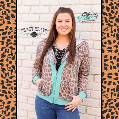 Crazy Train Clothing Zip Zap Hooded Jacket Turquoise and Leopard Print Women's Fall Winter Fashion Apparel At Chic Picks Boutique