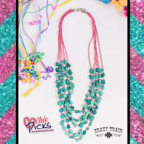 Crazy Train Turquoise The River Stone Necklace On 5 pink strands at Chic Picks
