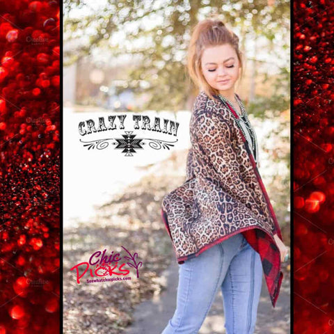 Crazy Train Clothing Waffle Wonderland ReversibleAnimal Print Leopard Red Buffalo Plaid Cardigan women's fall holiday winter fashion apparel at chic Picks boutique