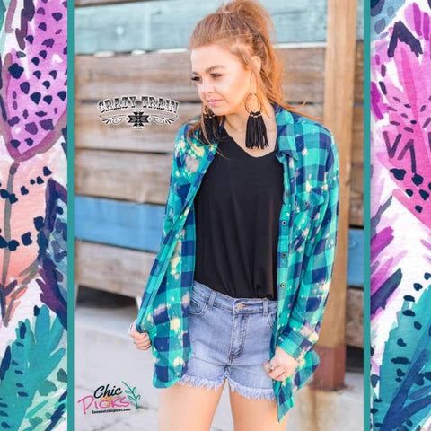 Crazy Train clothing Bleached Long Sleeve Plaid Navy Teal Button Down Top Women's Fashion Spring Tops at Chic Picks Boutique