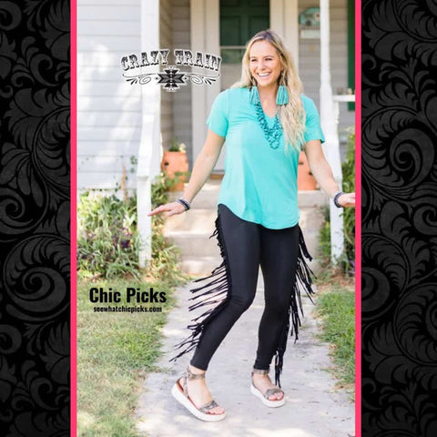 Crazy Train On the Fly Black Fringe Edge Skinnies Women's Fashion Skinny Pants At Chic Picks Boutique