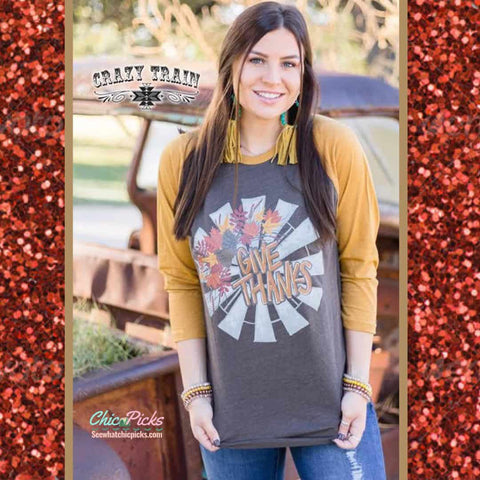 Crazy Train Give Thanks Windmill Mustard Sleeve Graphic Baseball Tee Women's Fall Fashion At Chic Picks